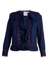 Thierry Colson | Thierry Colson - Rita Embroidered Ruffle Trimmed Cotton Jacket - Womens - Blue Multi | Clouty