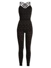Pepper & Mayne | Pepper & Mayne - Criss Cross Star Print Performance Unitard - Womens - Black Multi | Clouty