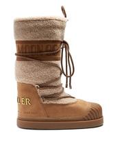 MONCLER   Moncler - X Moon Boot® Venus Shearling Apres Ski Boots - Womens - Tan   Clouty