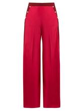 VALENTINO | Valentino - High Rise Wide Leg Silk Crepe De Chine Trousers - Womens - Pink Multi | Clouty