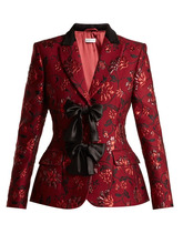 Altuzarra | Altuzarra - Angela Single Breasted Floral Brocade Blazer - Womens - Burgundy Print | Clouty