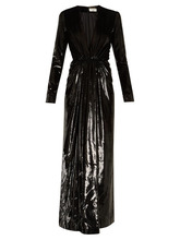 SAINT LAURENT | Saint Laurent - Deep V Neck Velvet Lame Gown - Womens - Black | Clouty