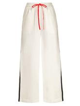 Marysia | Marysia - Montauk Side Stripe Wide Leg Cotton Trousers - Womens - White Blue | Clouty