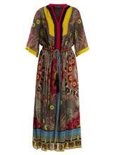Etro | Etro - Jungle Print Fringe Trimmed Silk Dress - Womens - Black Multi | Clouty