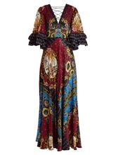 Etro | Etro - Jungle Print V Neck Silk Satin Gown - Womens - Pink Multi | Clouty
