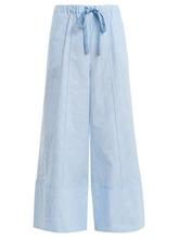 FENDI | Fendi - Wide Leg Striped Cotton Poplin Trousers - Womens - Light Blue | Clouty