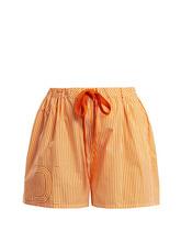FENDI | Fendi - Striped Cotton Poplin Shorts - Womens - Orange | Clouty