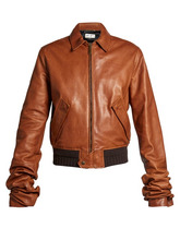 SAINT LAURENT | Saint Laurent - Extra Long Sleeves Leather Bomber Jacket - Womens - Mid Brown | Clouty