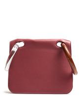Roksanda | Roksanda - Neneh Wooden Handle Leather Clutch - Womens - Burgundy | Clouty