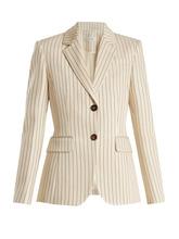 Altuzarra | Altuzarra - Fenice Single Breasted Pinstriped Blazer - Womens - Cream White | Clouty