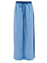 Diane Von Furstenberg | Diane Von Furstenberg - Wide Leg Linen Blend Trousers - Womens - Blue | Clouty