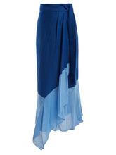 Diane Von Furstenberg | Diane Von Furstenberg - Contrast Hem Linen Blend Wrap Skirt - Womens - Blue Multi | Clouty