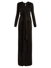 GIVENCHY   Givenchy - Tie Front Deep V Neck Jersey Gown - Womens - Black   Clouty