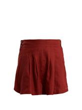 Three Graces London | Three Graces London - Rhoda Pleated Linen Shorts - Womens - Burgundy | Clouty