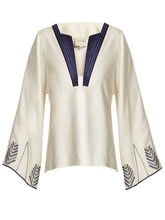 Zeus + Dione | Zeus + Dione - Embroidered Raw Silk V Neck Top - Womens - White Multi | Clouty