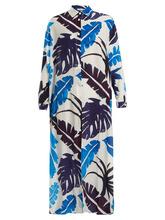 Kalmar | Kalmar - Point Collar Palm Print Silk Crepe De Chine Kaftan - Womens - White Multi | Clouty