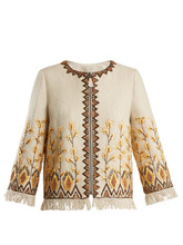 Andrew Gn | Andrew Gn - Embroidered Linen Blend Jacket - Womens - Beige | Clouty