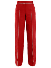 VALENTINO | Valentino - High Rise Straight Leg Cotton Blend Trousers - Womens - Red Multi | Clouty