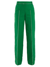 VALENTINO | Valentino - High Rise Straight Leg Cotton Blend Trousers - Womens - Green | Clouty