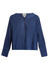 Thierry Colson | Thierry Colson - Jours De Venise Pleated Cotton Blend Top - Womens - Navy | Clouty