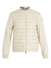 MONCLER | Moncler - High Neck Contrast Panel Quilted Down Jacket - Mens - Cream | Clouty