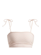 Made by Dawn | Made By Dawn - Arrow Tie Shoulder Bandeau Bikini Top - Womens - Light Pink | Clouty