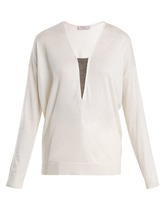 Brunello Cucinelli | Brunello Cucinelli - Bead Embellished Cashmere And Silk Blend Sweater - Womens - Ivory | Clouty
