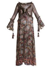 Anjuna | Anjuna - Ciclade Floral Print Tassel Trimmed Silk Dress - Womens - Black Multi | Clouty