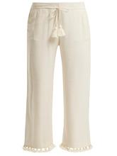 Figue | Figue - Felipe Tassel Hem Silk Blend Trousers - Womens - Ivory | Clouty