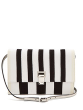 Proenza Schouler | Proenza Schouler - Striped Knit And Leather Cross Body Bag - Womens - Black White | Clouty