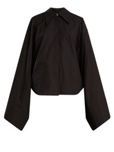 A.W.A.K.E. | A.w.a.k.e. - Kimono Sleeve Cotton Poplin Top - Womens - Black | Clouty