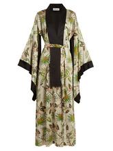 Adriana Iglesias | Adriana Iglesias - Anna Reversible Tropical Print Stretch Silk Robe - Womens - Green White | Clouty