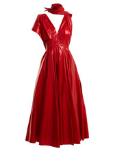 Calvin Klein | Calvin Klein 205w39nyc - Tie Neck A Line Dress - Womens - Red | Clouty
