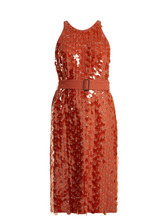 Bottega Veneta | Bottega Veneta - Sequin And Eyelet Embellished Crepe Dress - Womens - Light Red | Clouty