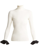 VALENTINO | Valentino - Ribbed Knit Roll Neck Sweater - Womens - White Black | Clouty