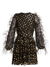 VALENTINO | Valentino - Feather Trim Fil Coupe Silk Blend Mini Dress - Womens - Black Gold | Clouty