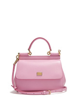 Dolce & Gabbana - Sicily Small Dauphine Leather Bag - Womens - Light Pink | Clouty