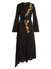 Etro | Etro - Floral Embroidered Wrap Dress - Womens - Black Multi | Clouty