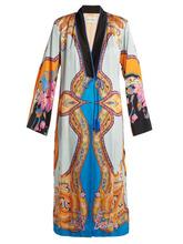 Etro | Etro - Jasper Paisley And Floral Print Crepe Coat - Womens - Blue Multi | Clouty