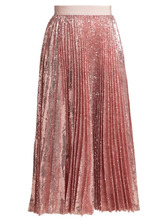 MSGM | Msgm - Sequined Pleated Midi Skirt - Womens - Pink | Clouty