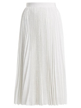 MSGM | Msgm - Pleated Sequined Skirt - Womens - White | Clouty