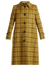 Bottega Veneta | Bottega Veneta - Plaid A Line Wool Coat - Womens - Yellow | Clouty