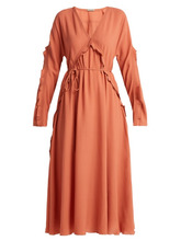 Bottega Veneta | Bottega Veneta - Ruffle Trimmed Silk Dress - Womens - Mid Pink | Clouty