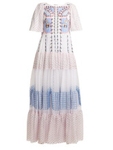 Temperley London   Temperley London - Bourgeois Embroidered Detailed Silk Gown - Womens - White Multi   Clouty