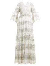 Etro | Etro - Lace Trimmed Floral Print Cotton Blend Dress - Womens - Grey White | Clouty