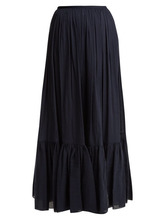 Loup Charmant | Loup Charmant - Flores Tiered Cotton Maxi Skirt - Womens - Navy | Clouty