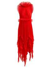 GIVENCHY | Givenchy - Ruffle Trimmed Pleated Silk Dress - Womens - Red Multi | Clouty