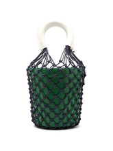 Staud - Moreau Macrame And Leather Bucket Bag - Womens - Green Multi | Clouty