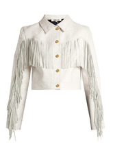 Diane Von Furstenberg - Cropped Fringed Leather Biker Jacket - Womens - White | Clouty