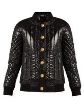 BALMAIN | Balmain - Quilted High Shine Bomber Jacket - Womens - Black | Clouty